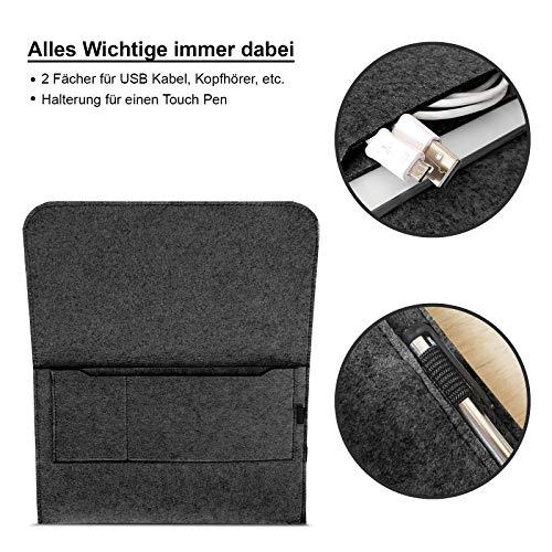 ROYALZ Filz Tasche für Apple Mac Book Air 13 Zoll Hülle Sleeve Design Cover Filztasche Case, Farbe:Dunkelgrau