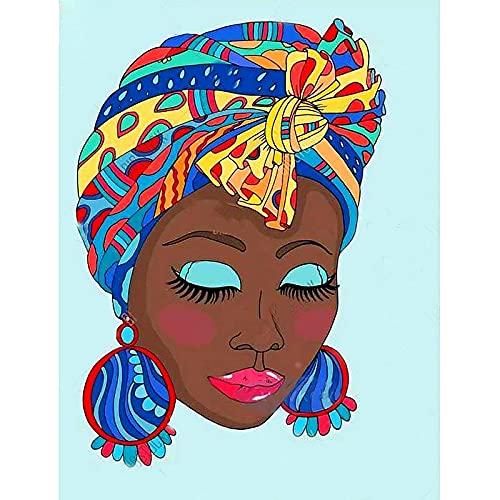 Pintura de diamante 5D Arte de mujer africana americana con pendientes grandes Taladro completo Cuentas cuadradas Kits de pintura de diamante para adultos Cristal Gems Arte de pared 40x50cm