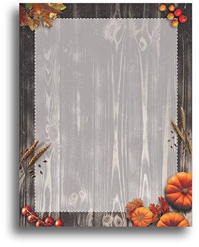 Autumn Pumpkin Harvest Stationery Paper - 80 Sheets - Fall Letterhead for Festivals & Thanksgiving