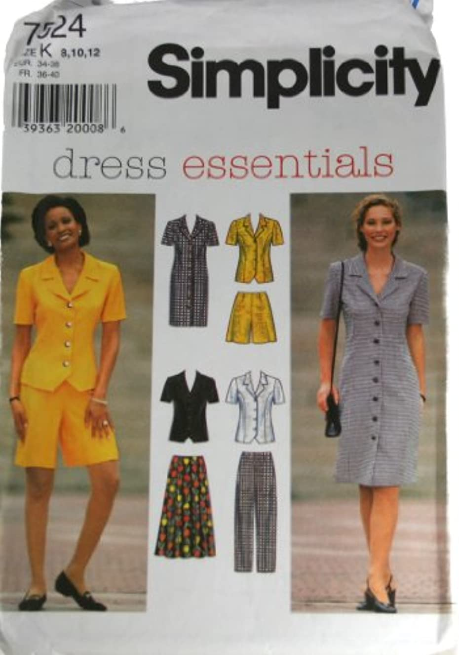Simplicity 7524 Sewing Pattern Misses Dress or Top,Skirt,Pants and Shorts Size K 8,10,12
