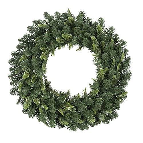 Corona verde Ø60 cm PE+PVC Adornos Decoración Navidad Fuorporta Navidad