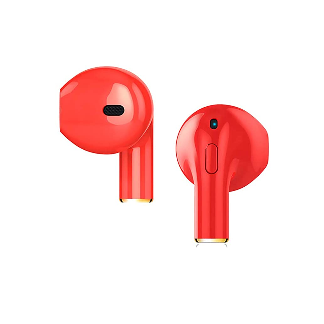 Wireless Earbuds Mini Bluetooth Earbud with Microphone U Memory in-Ear Earbud Headphones Wireless Sports Headphones with Stereo for Gym Running Workout Compatible with Android & iOS-Single Ear (Red)