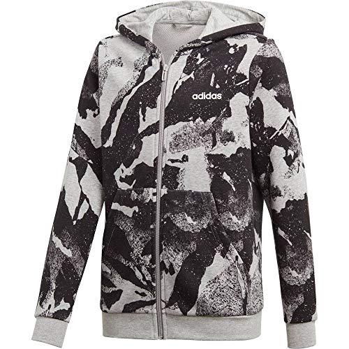 adidas Yb E AOP Pr Fz Sweatshirt für Kinder XXL Grau / Schwarz / Weiß (Brgrin / Negro / Blanco)
