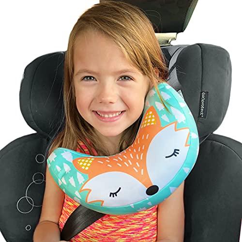 Poggiatesta Auto per bambini Brunoko – reggitesta seggiolino auto + cuscino da viaggio bambini per passeggino 2 in 1 - reggitesta auto per...