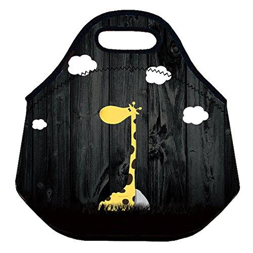 ZMvise Sac à déjeuner portable en néoprène imprimé girafe pour enfants, sac de pique-nique isotherme pour voyage