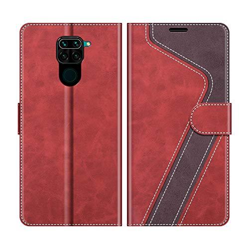 MOBESV Funda para Xiaomi Redmi Note 9, Funda Libro Xiaomi Redmi Note 9, Funda Móvil Xiaomi Redmi Note 9 Magnético Carcasa para Xiaomi Redmi Note 9 Funda con Tapa, Rojo