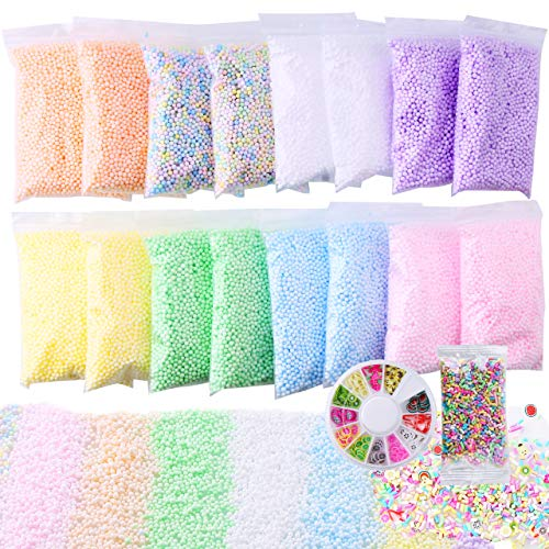 Slime Foam Beads Floam Balls – 18 Pack Pastel Microfoam Beads Kit 0.1-0.14 inch (90,000 Pcs) Micro Colors Rainbow Fruit Beads Craft Add ins DIY Kids Ingredients Flote Microbeads Sprinkles Supplies