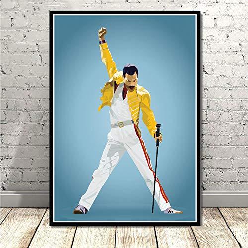 LCSLDW Leinwanddruck Freddie Mercury Rhapsody Queen Poster Und Drucke Wandbilder Wohnzimmer Leinwand Malerei Dekorative Wohnkultur, 70X100Cm No Frame