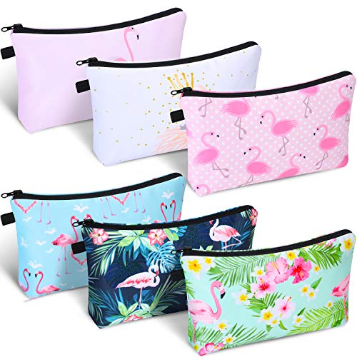 6 Pieces Makeup Bag Toiletry Pouch Waterproof Cosmetic Bag with Mandala Flowers Patterns, 6 Styles (Flamingo Style)