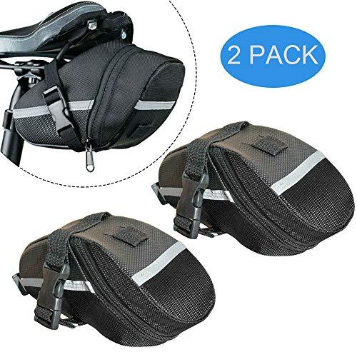 Fahrrad-Satteltasche, 2er-Pack, wasserabweisend, für Rennrad, Mountainbike, MTB, faltbar