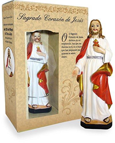 Ferrari & Arrighetti Estatua Sagrado Corazón de Jesús de 12 cm con Caja de Regalo y marcapáginas (en ESPAÑOL)
