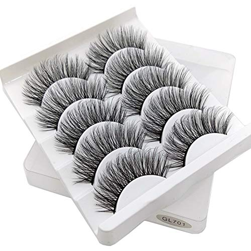 QFWN 5 Paires 3D Cils naturels Faux Cils Faux Cils Doux Cils Outils de Maquillage en Gros Extension (Color : GL701)