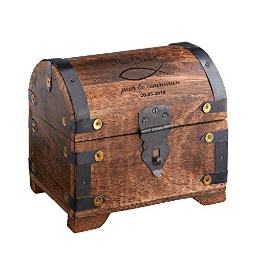 Casa Vivente - Coffre au trésor avec Gravure pour la Communion - Motif Poisson - Personnalisé avec [NOM] et [Date] - Bois foncé - Emballage Cadeaux d'argent - Cadeau première Communion