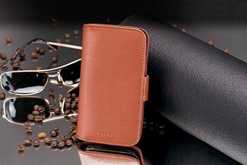 Cadorabo Hülle für Huawei Ascend Y300 - Hülle in Cognac BRAUN – Handyhülle mit Kartenfach aus struktriertem Kunstleder - Case Cover Schutzhülle Etui Tasche Book Klapp Style - 4