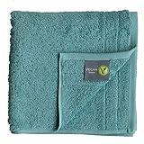 Asciugamano da sauna vegano per uomo e donna – adulti, bambini e neonati in 100% cotone biologico con materiale vegano (panno per sauna 100 x 200, petrolo)