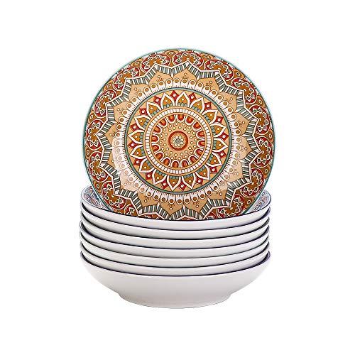 Vancasso Tafelservice Suppenteller Porzellan, Mandala 8 teiliges Tiefteller Set, Suppenteller Ø 20,8 cm, Geschirr Tellerset Suppenschalen, böhmischer Stil, 700ml