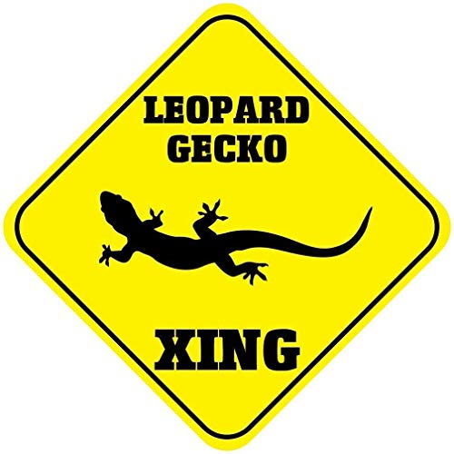 LZLQR Metal Sign 12x12 inches Leopard Gecko Crossing Funny Metal Aluminum Novelty Sign