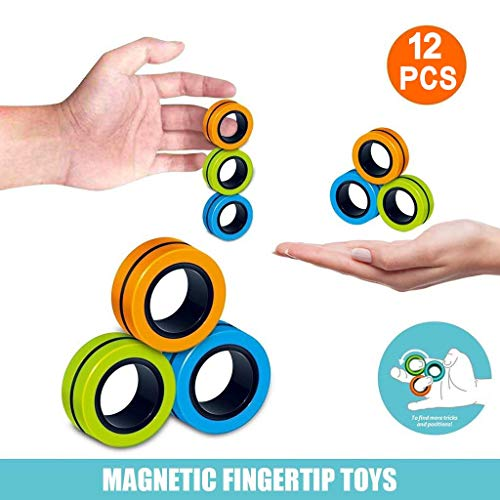 BXzhiri Finger Magnetic Ring - Magnet Toy, Magnetic Bracelet Ring, Durable Unzip Toy, Magic Ring Props Tools Decompression Toys, Anti-Stress Game Fidget