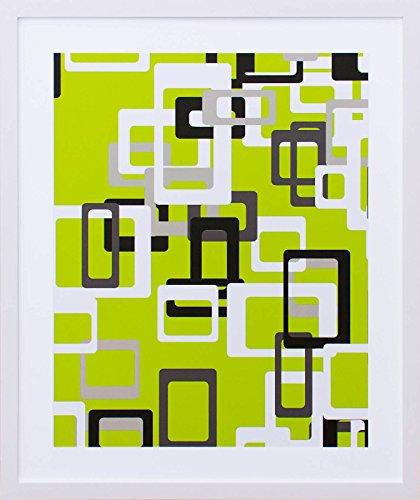 Quadro com Impressão Personalizada Abstrata Retângulos B Decore Pronto Multicor 53x63cm