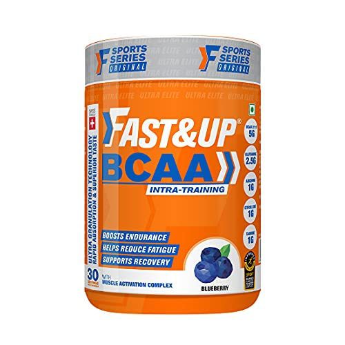 Fast&Up BCAA (30 Servings, Blueberry Flavour) Advanced BCAA Supplement with Glutamine, Citrulline, L-Arginine & Taurine For Muscle Recovery & Endurance - Pre/Post Workout & Intra Workout Supplement (450g)