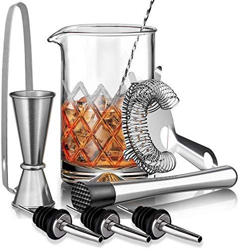 SUPERSUN 9 Stück Cocktail Set Geschenk, Mixingglas für Cocktails mit 500ml Bleifreiem Glas, Cocktail-Sieb, Muddler, Löffel, Jigger, Eisriemen - Bar-Zubehör und Werkzeuge