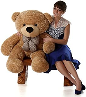 Giant Teddy Brand - 4 Foot Huge Cuddly Stuffed Animal for Girlfriend (Amber Brown)