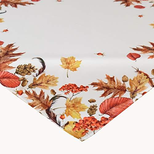 Kamaca Serie Herbst IMPRESSIONEN hochwertiges Druck-Motiv mit Herbstlaub EIN Schmuckstück in Herbst Winter (85x85 cm Mitteldecke)