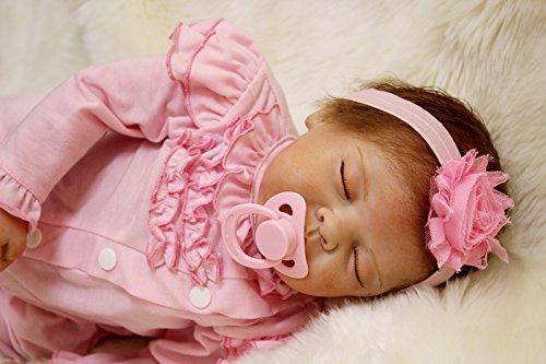 Scnbom 22inch 55cm Bambole Reborn Silicone Femmina Originali bambolotti Che sembrano Veri Bambola realistica Baby Dolls Occhi Chiusi bambile Maschio Neonato Toddler