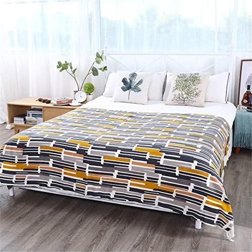Tiro de punto Manta suave Ligero Patrón cuadrado Patrón Decorativo Lanza Manta con borlas Fringe para Casa Sofá Cama Sofá