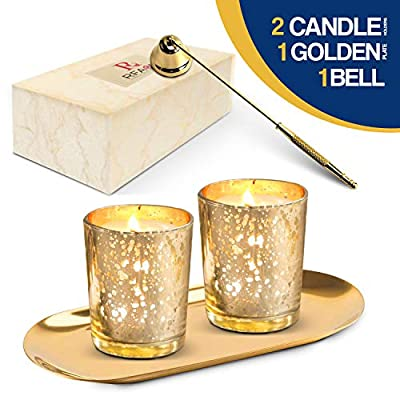 RFAQK Gold Votive Candle Holder with Metallic Plate and Candle Snuffer- Mercury Glass Tea Light Candle Holder Set of 4 for Wedding Decor and Home Decor