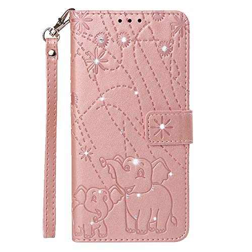Boloker Case for Xiaomi Mi A2 Lite/Redmi 6 Pro [with Tempered Glass Screen Protector], [Kickstand] Retro Flip Case Elegant Vintage Diamond Design PU Leather Protective Case (Pink)