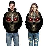 Suéter con Capucha 3D, El Otoño Y El Invierno Americana De Horror Digital 3D Skull Imprimir Pareja Suelta Casual Sudadera con Capucha,S