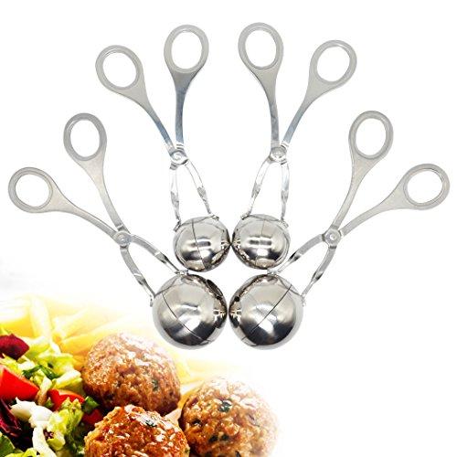4 Stück Frikadelle Scoop Maker - Professionelle Edelstahl Fleisch Baller Cookie Teig Scoop, Kugel Form Ball Maker für Kuchen oder Fleisch, Premium Küche Werkzeug