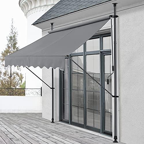 pro.tec Klemmmarkise 200x120x200-300cm Markise Balkonmarkise ohne Bohren Mittelgrau