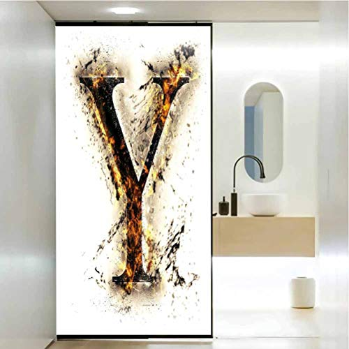 Film teinté pour vitrail - Lettre Y capital Y in Flames brûlant grunge gothique Sty, contrôle de la chaleur - 23,6 x 35,4 cm