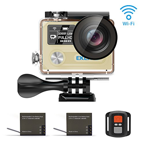 EKEN H8 Pro, Ultra HD 4K Waterproof Action Camera (Sports DV Camcorder with 2 Batteries, Charging Dock, Selfie Stick and 18 Mountings Kit), one of The Most Cost-Effective Sports Cameras (Gold)