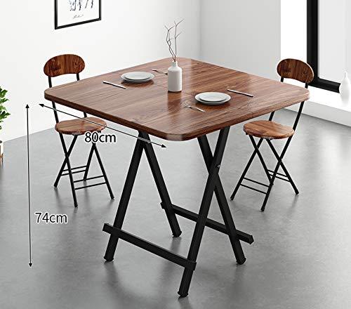 LHY Kitchen La Mesa de Comedor de Madera Maciza se Puede Plegar, la Mesa de Comedor Cuadrada se Puede Ampliar, la Mesa de Comedor para Apartamentos pequeños, el Marco de Metal, 80 cm,Walnut