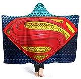 Superman Supereroe Coperta con cappuccio, 3D Digital Stampa NAP Coperta doppia strato addensato Adidabile Cloak Sherpa Fleece Biancheria da letto ufficio Soggiorno Soggiorno Gioco Viaggio Coperta Cloa