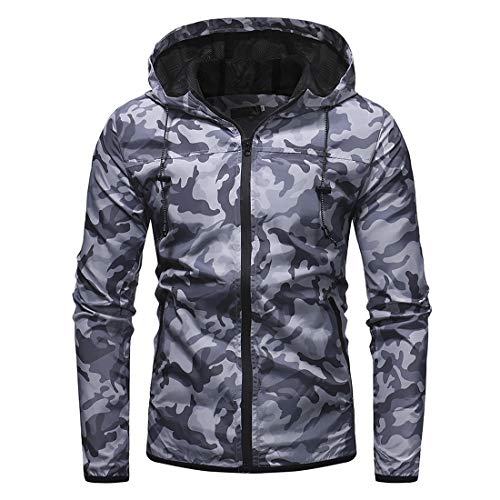 Jacket Men Coat Men Zipper Casual Sports Transition Jacket Sports Jacket Autumn New Long Sleeve Camouflage Fashion Windproof Casual Men Hooded Jacket B-Gray XL