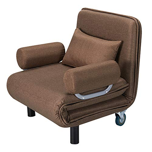 HOMHUM Convertible Sofa Bed Sleeper Guest Chair Folding 5 Position Arm Recliner Chair w/Pillow, Upholstered Seat, Wheel Design, Leisure Chaise Lounge Couch for Home Office, Brown