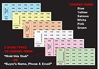 """中国製オークションチケット500枚 6色から選択 2種類のスタブチョイス Stub w/""""Buyer's Name, Phone & Email"""