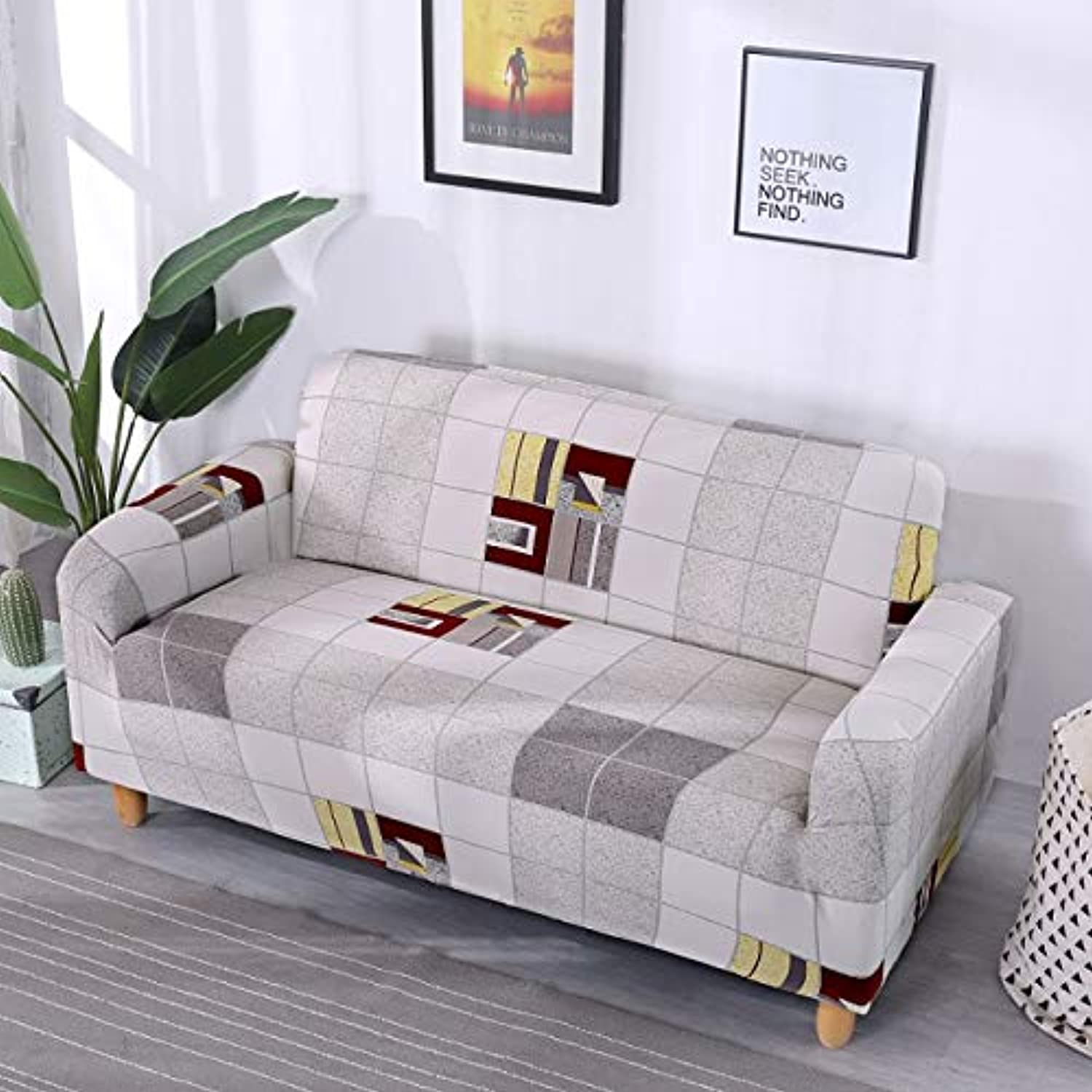 Sofa Slipcovers Tight wrap All-Inclusive Slip-Resistant sectional Elastic Full Sofa Cover S M L XL Size   20029, S 90-140cm