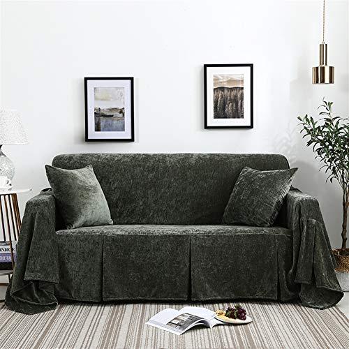 Icegrey bankovertrek, antislip, armleuningen, sofa-sprei, van fluweel, sofahoes 200x150cm donkergroen