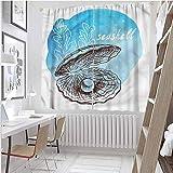 Cortinas opacas con bolsillo para barra, perlas, almejas y algas marinas, 203 cm de longitud para sala de estar (2 paneles)