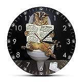 Horloges murales pour salon chaton chat sur la toilette avec le journal silencieux...