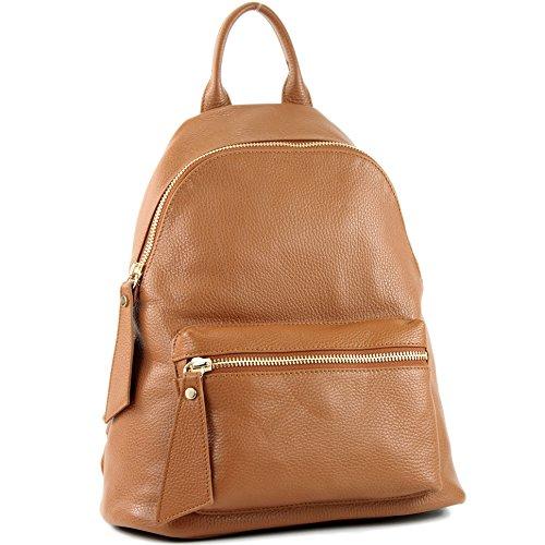 modamoda de - T171A - ital Damen Rucksacktasche aus Leder, Farbe:Cognac