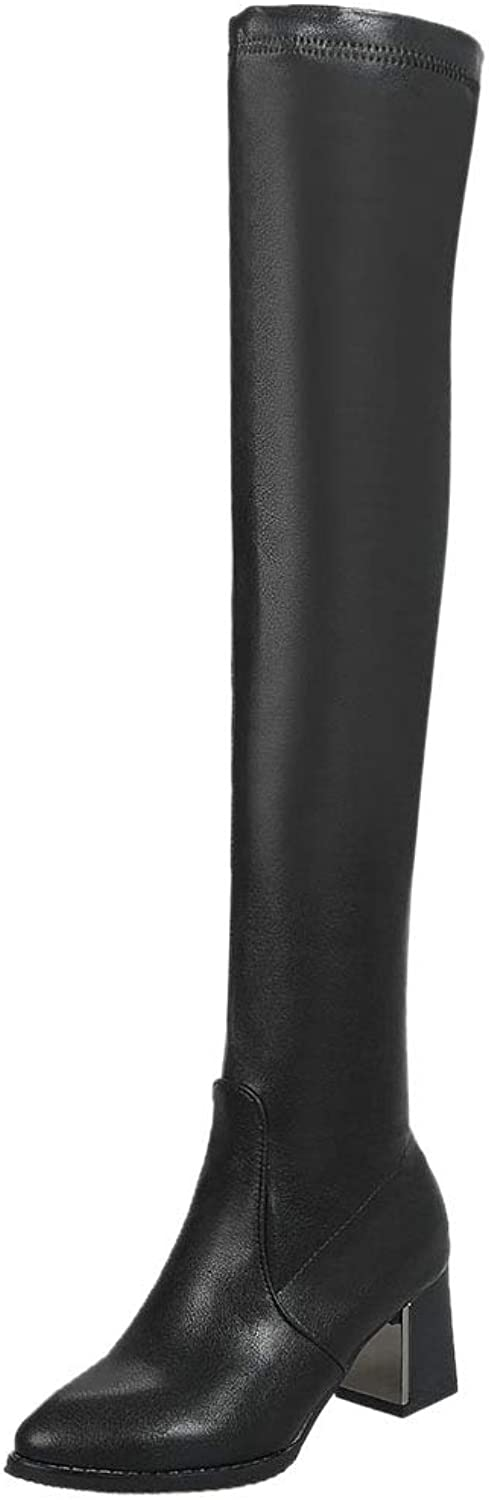 ELEEMEE Women Fashion Block Heel Over The Knee Boots