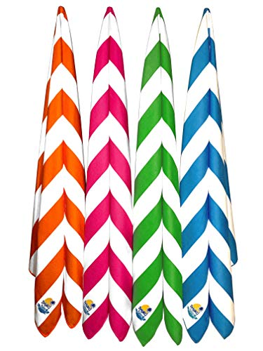 Bright Beach 4 Pack Huge 78x36 Microfiber Beach Towels for Travel XXL | Quick Dry Sand Free Swim Towel | Fits Persons Up To 66 | Lightweight Gym, Yoga, Camping Towel | Cabana Stripes Bulk Family Pack