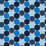 Softshell Kreise – blau/orange — Meterware ab 0,5m —