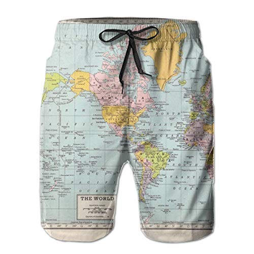 YongColer Men's World Map Short Swim Trunks Best Board Shorts for Sports Running Swimming Beach Surfing Quick Dry Breathable Bathing Suits Beach Holiday Party Swim Shorts